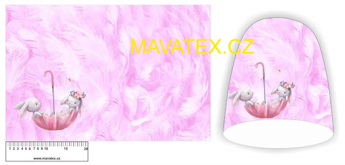 Panel na čepice -zajíčkové na růžových peříčkách vyrobeno v EU