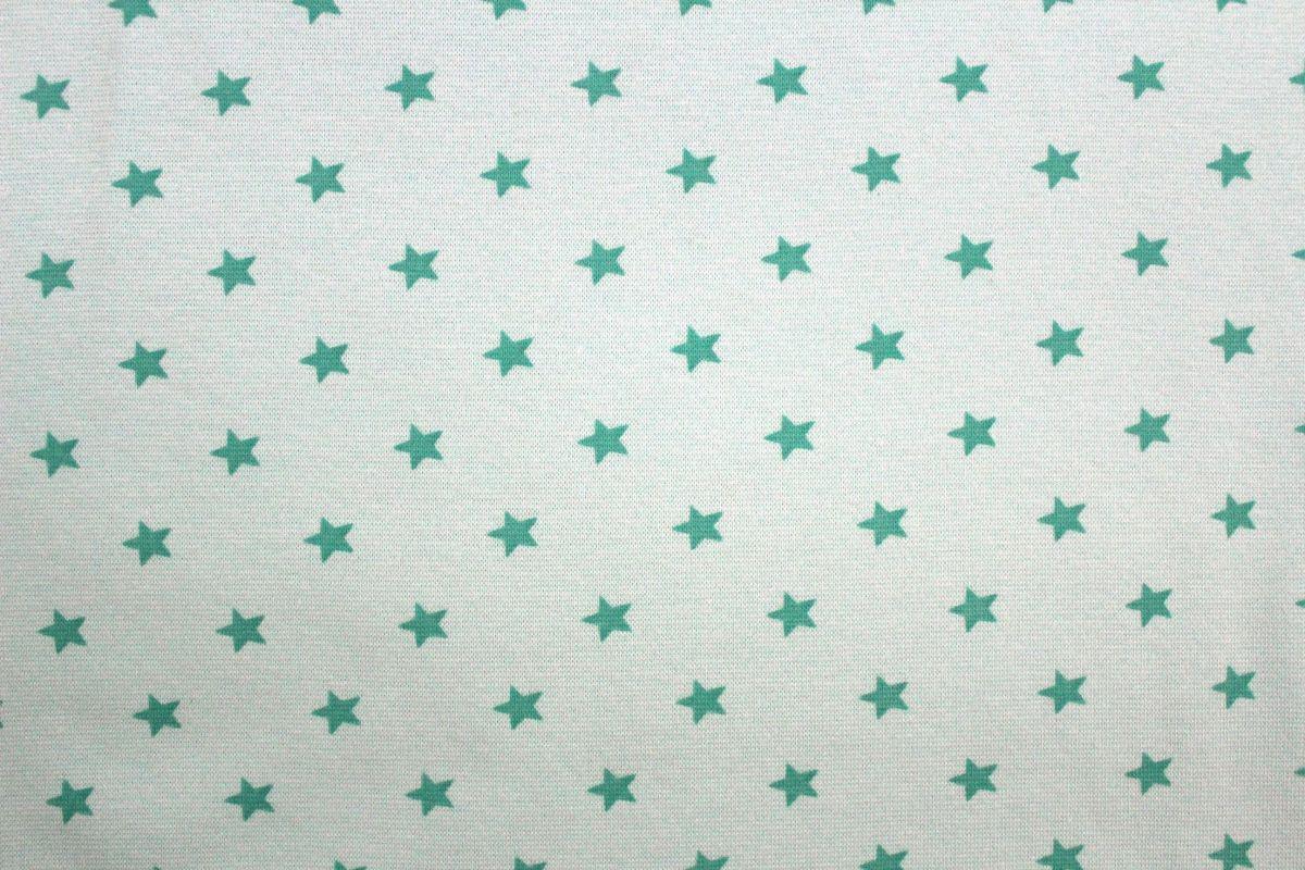 Rib 1x1 mentolková s hvězdičkami EU-úplety atest pro děti