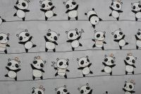 Světle šedá bavlna s pandami