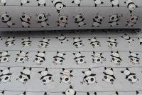 Světle šedá bavlna s pandami vyrobeno v EU- atest pro děti bavlna