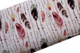 Bílá bavlna s barevnými peříčky a korálky -RŮŽOVO-HNĚDÁ vyrobeno v EU