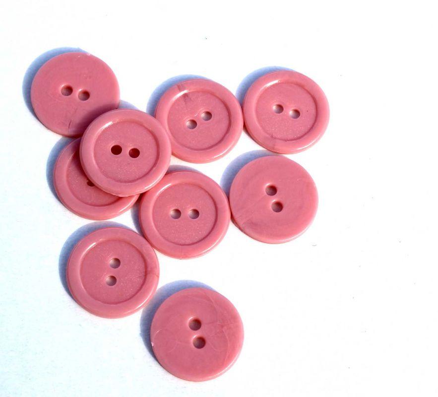 Knoflík plastový 2 cm růžový Vyrobeno mimo EU