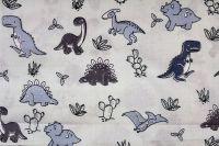 Světle modrá bavlna s šedo-modrými dinusaury