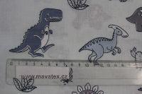 Světle modrá bavlna s šedo-modrými dinusaury vyrobeno v EU- atest pro děti bavlna