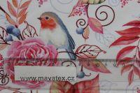 Teplákovina barevní ptáčkové na větvičkách- digitální tisk EU-úplety atest pro děti
