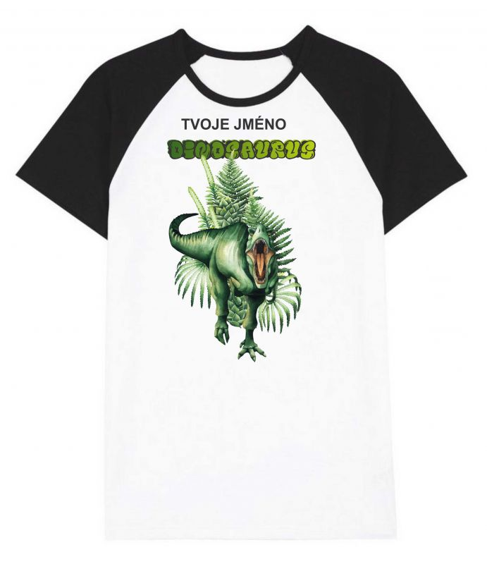 Panel triko/mikina/taška - zelený dinosaurus - text na přání vyrobeno v EU