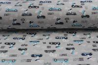Šedá bavlna zajíci v autě vyrobeno v EU- atest pro děti bavlna