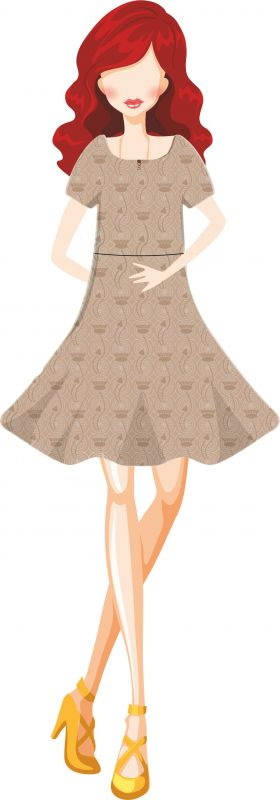 Papírový střih - DÁMSKÉ šaty VENDULA -přestřižené v pase s kolovou sukní Mavatex