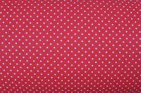 Červená bavlna s malými bílými puntíky