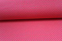 Červená bavlna s malými bílými puntíky vyrobeno v EU- atest pro děti bavlna