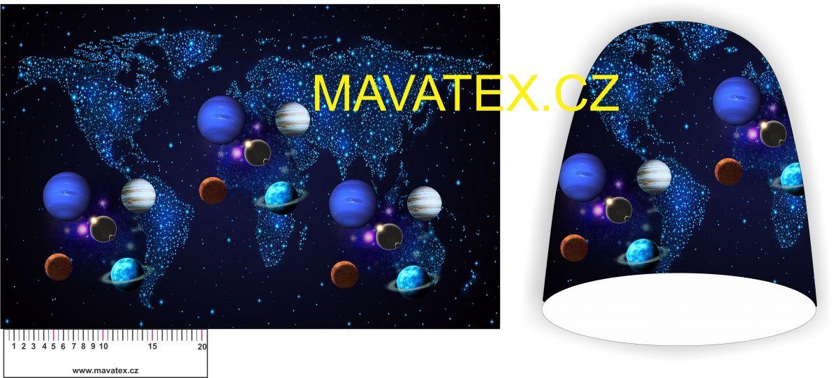 Panel na čepice -planety tmavě modré vyrobeno v EU
