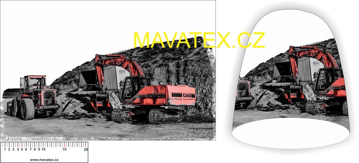Panel na čepice -stavební stroje červené vyrobeno v EU