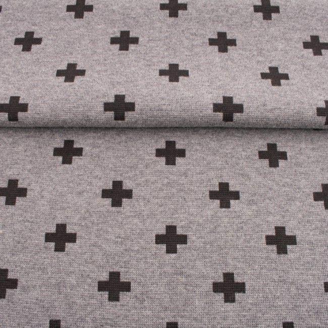 Rib 1x1 šedá mellange s plusky vyrobeno v EU
