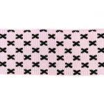 Rib žakárový -růžový+černé křížky - 7x100 cm vyrobeno v EU