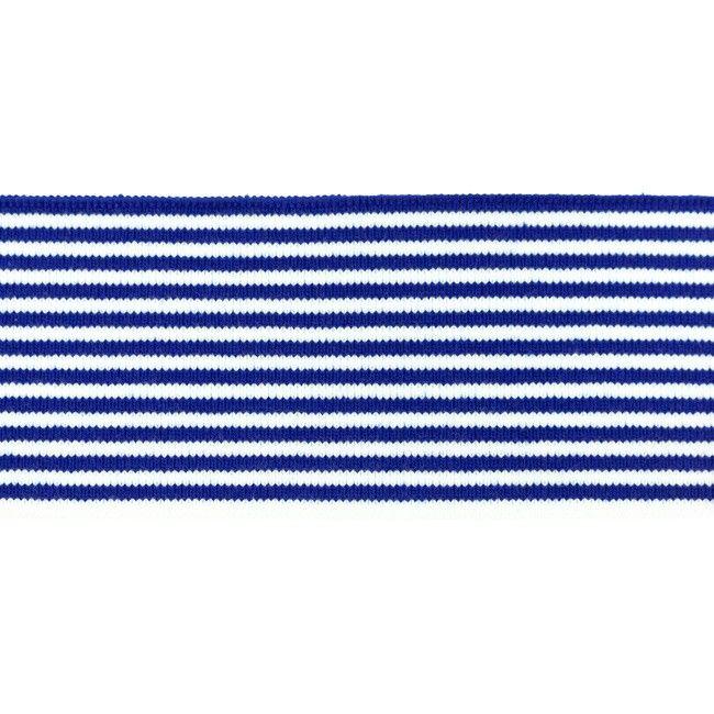 Rib žakárový marina+bílý pruh - 7x100 cm vyrobeno v EU