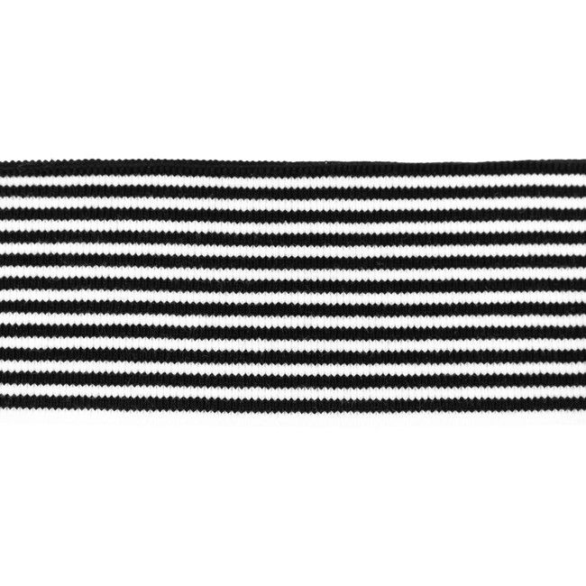 Rib žakárový černý+bílý pruh - 7x100 cm vyrobeno v EU