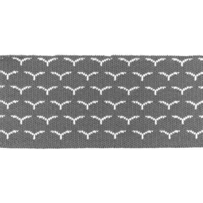 Rib žakárový - šedý s ptáčky - 7x100 cm vyrobeno v EU