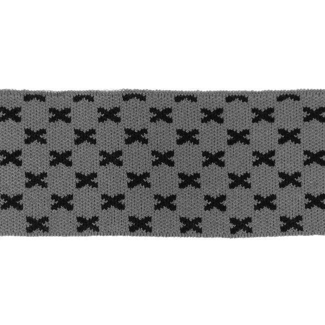 Rib žakárový - šedý+černé křížky - 7x100 cm vyrobeno v EU