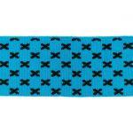 Rib žakárový -aqua+černé křížky - 7x100 cm