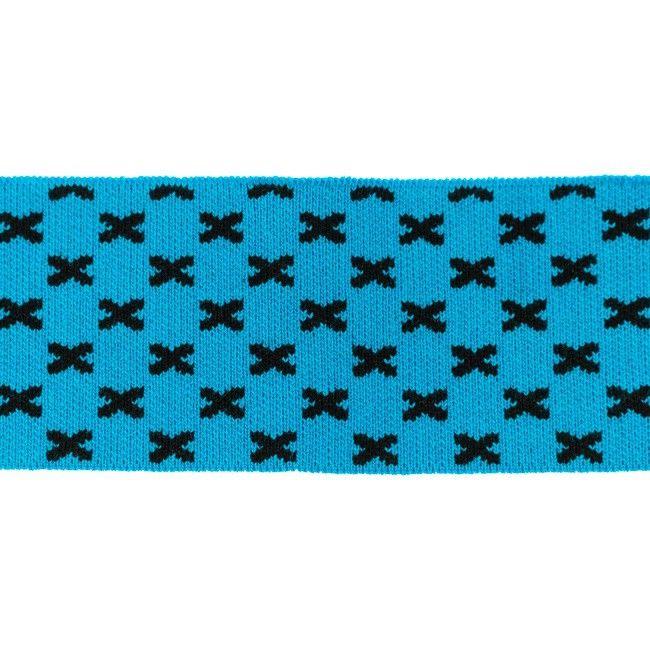 Rib žakárový -aqua+černé křížky - 7x100 cm vyrobeno v EU