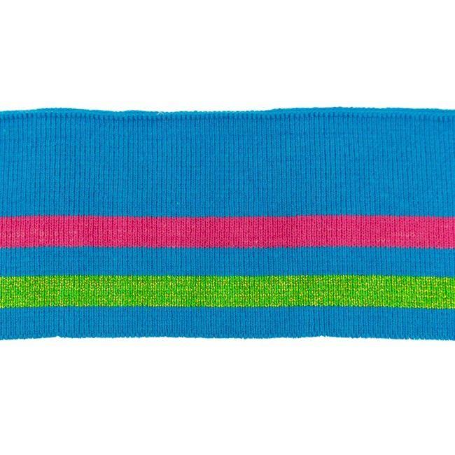 Rib žakárový modrý s dvěma pruhy - 7x100 cm vyrobeno v EU