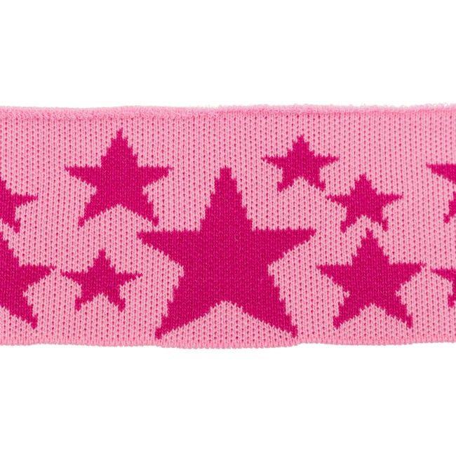 Rib žakárový růžový+malinové hvězdy - 7x100 cm vyrobeno v EU
