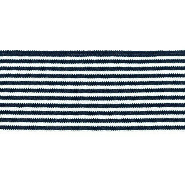 Rib žakárový tmavě modrý+bílý pruh - 7x100 cm vyrobeno v EU