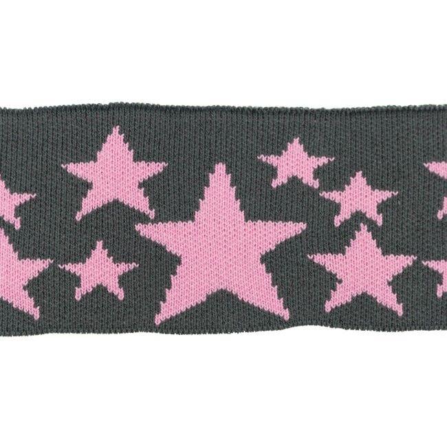 Rib žakárový šedý+ růžové hvězdy - 7x100 cm vyrobeno v EU