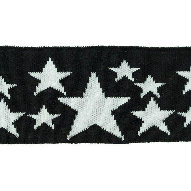 Rib žakárový černý + bílé hvězdy - 7x100 cm vyrobeno v EU