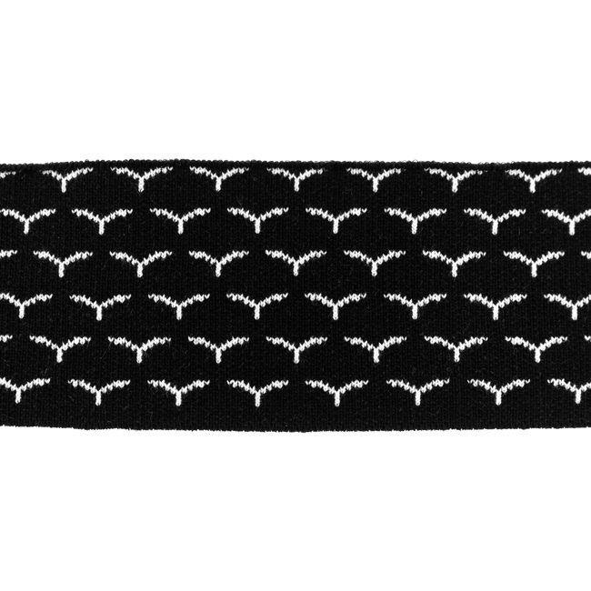 Rib žakárový - černý s ptáčky - 7x100 cm vyrobeno v EU