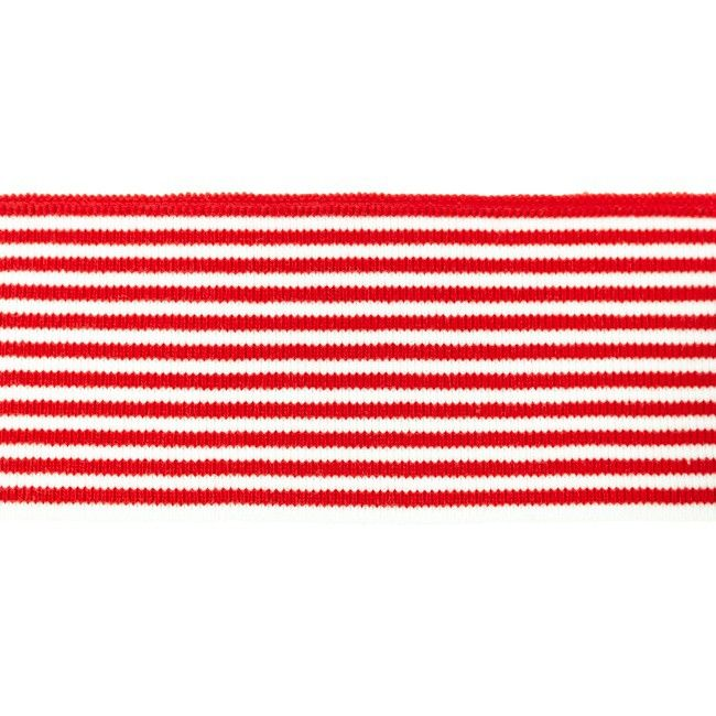 Rib žakárový červený+bílý pruh - 7x100 cm vyrobeno v EU