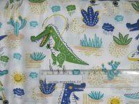 Bílá bavlna s krokodýlky vyrobeno v EU- atest pro děti bavlna