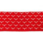 Rib žakárový - červený s ptáčky - 7x100 cm