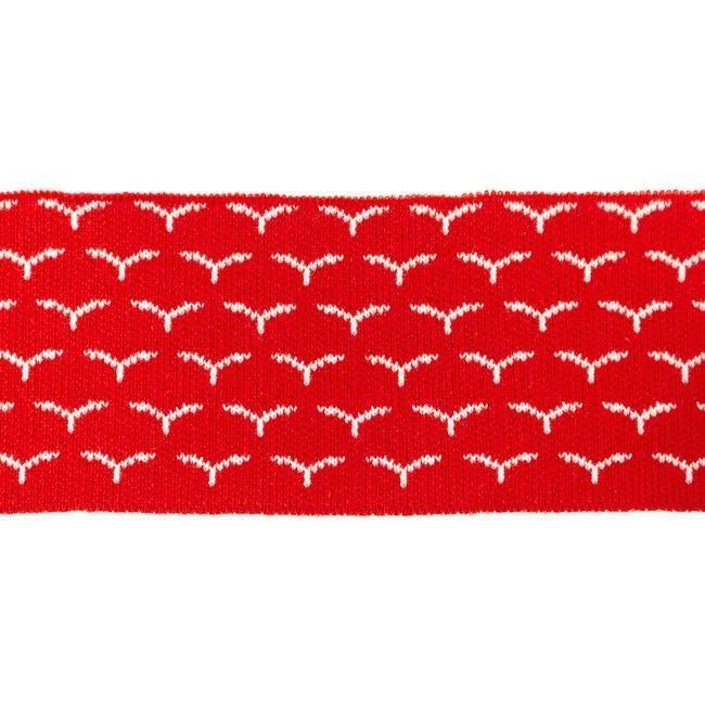 Rib žakárový - červený s ptáčky - 7x100 cm vyrobeno v EU