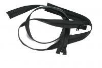 Černý zip kostěný  dělitelný - 90 cm