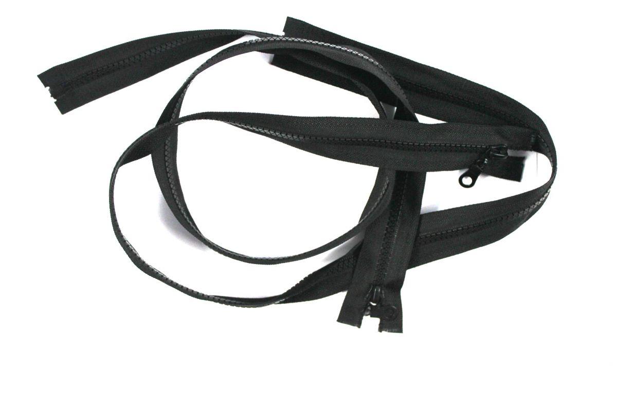 Černý zip kostěný dělitelný - 90 cm vyrobeno v EU