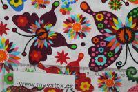 Bílá bavlna s barevnými motýlky vyrobeno v EU- atest pro děti bavlna