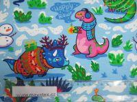 Teplákovina barevní dinosaurové na sněhu -digitální tisk EU-úplety atest pro děti