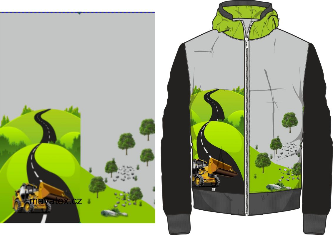 Přední Softshell panel- přechodový ( zimní+letní) - žlutý nakladač vyrobeno v EU