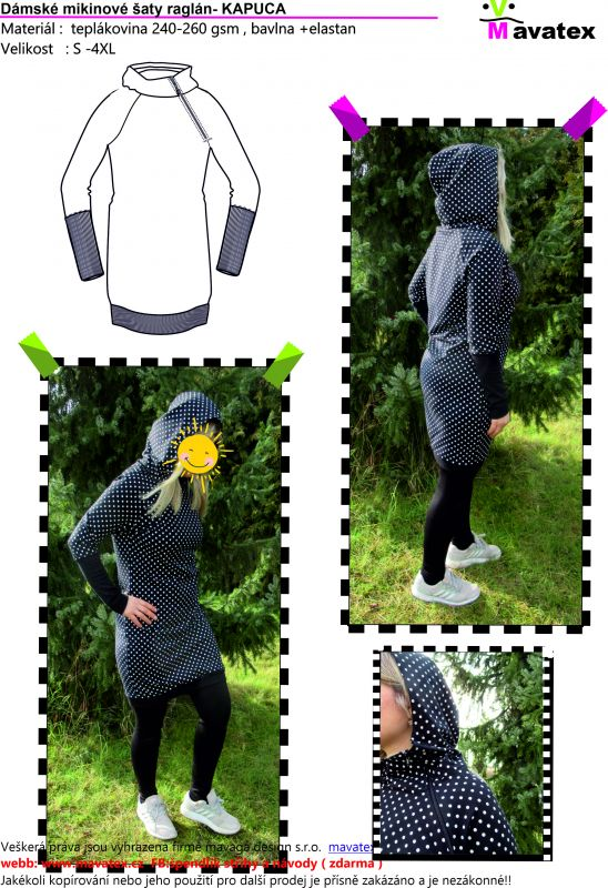 Elektronický střih -dámské mikinové šaty raglán- KAPUCA Mavatex
