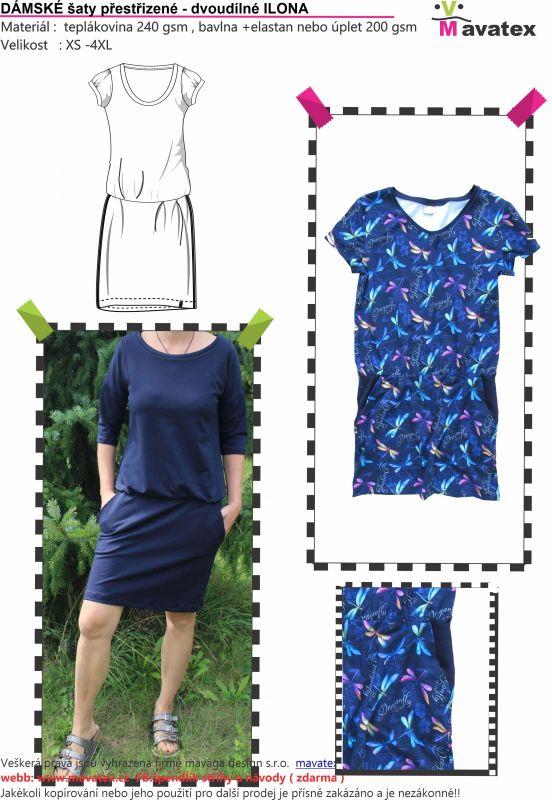 Elektronický střih -DÁMSKÉ šaty přestřizené - dvoudílné s krátkým rukávem -ILONA Mavatex