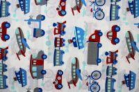 Dětská látka s auty , motorkami a letadly