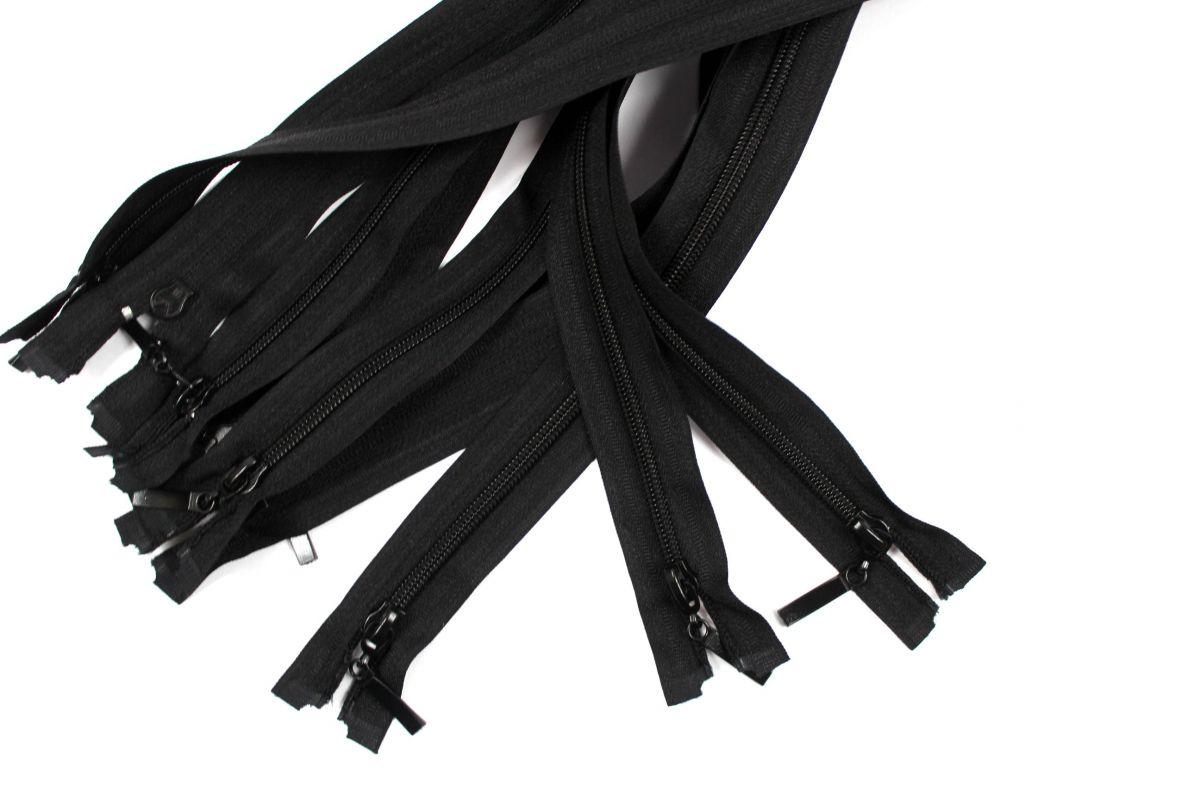 Černý zip dělený - 45 cm vyrobeno v EU