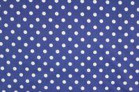 Modrá marina bavlna se středními bílými puntíky -1,1 cm