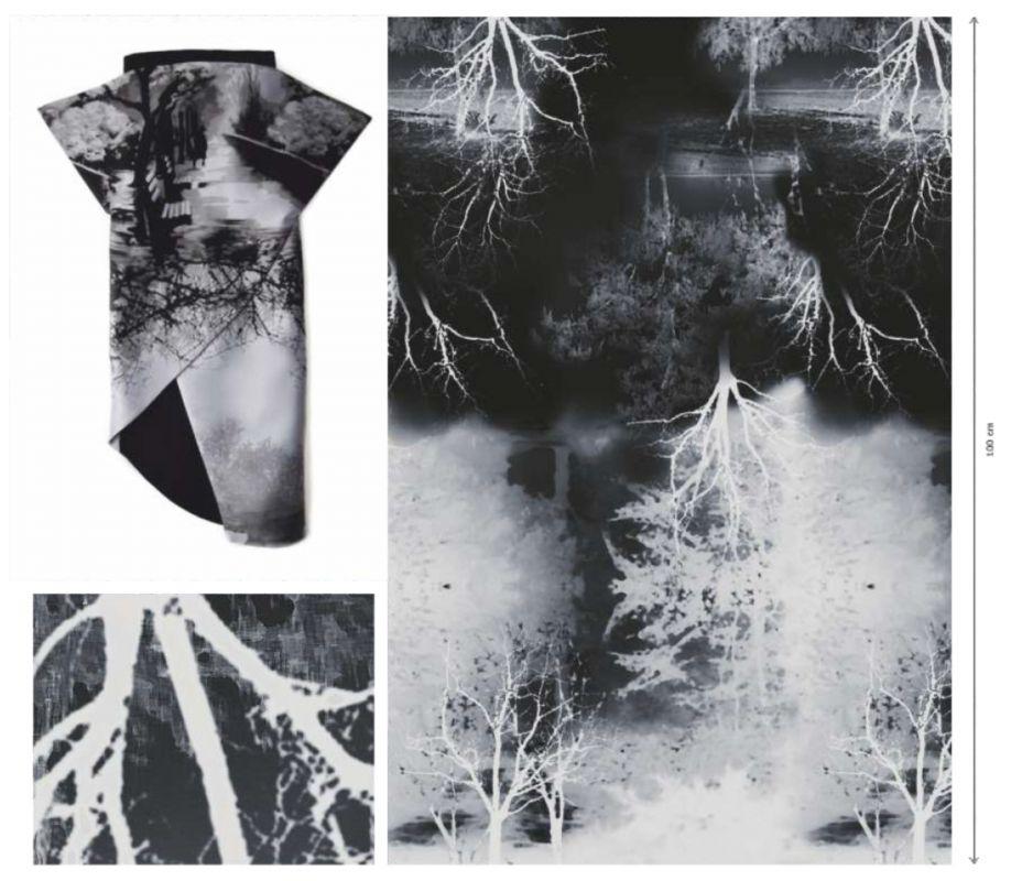 Panel na šaty – černo-šedý les -velký -1,75x0,85 m EU-úplety atest pro děti