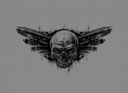 ROUŠKA PANEL obdelník - lebka na šedé