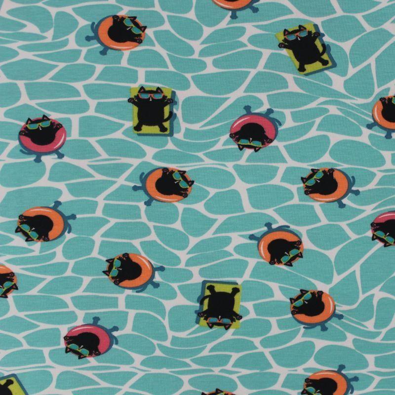 Jednolícní úplet kočičky na modré vodě EU-úplety atest pro děti