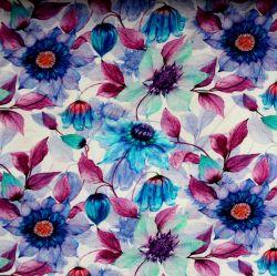 Jednolícní úplet fialovo-modré květy - digitální tisk