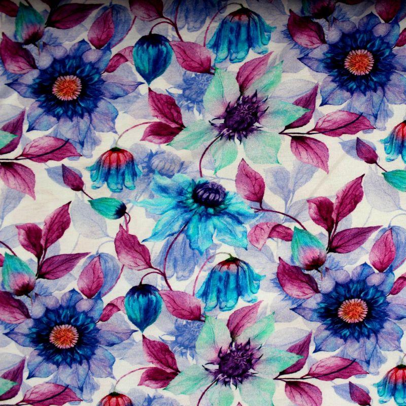 Jednolícní úplet fialovo-modré květy - digitální tisk EU-úplety atest pro děti