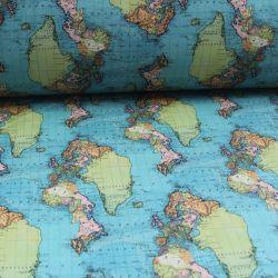 Teplákovina modro-zelená mapa světa - digitální tisk vyrobeno v Turecku